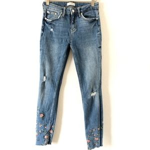 Zara skinny embroidered floral jeans